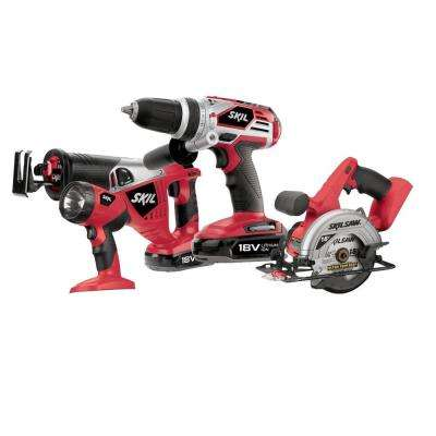 18-Volt Lithium-Ion Cordless Combo Kit with Circular Saw, Drill/Driver, Reciprocating Saw, and Worklight (4-Tool)