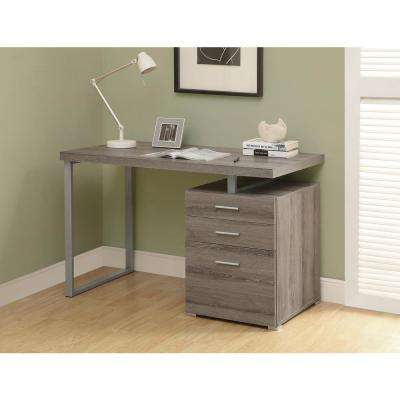 Dark Taupe Desk with File Cabinet