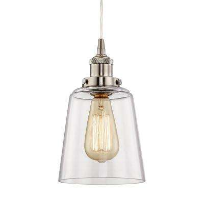 6 in. Satin Nickel Mini Pendant with Clear Glass Shade