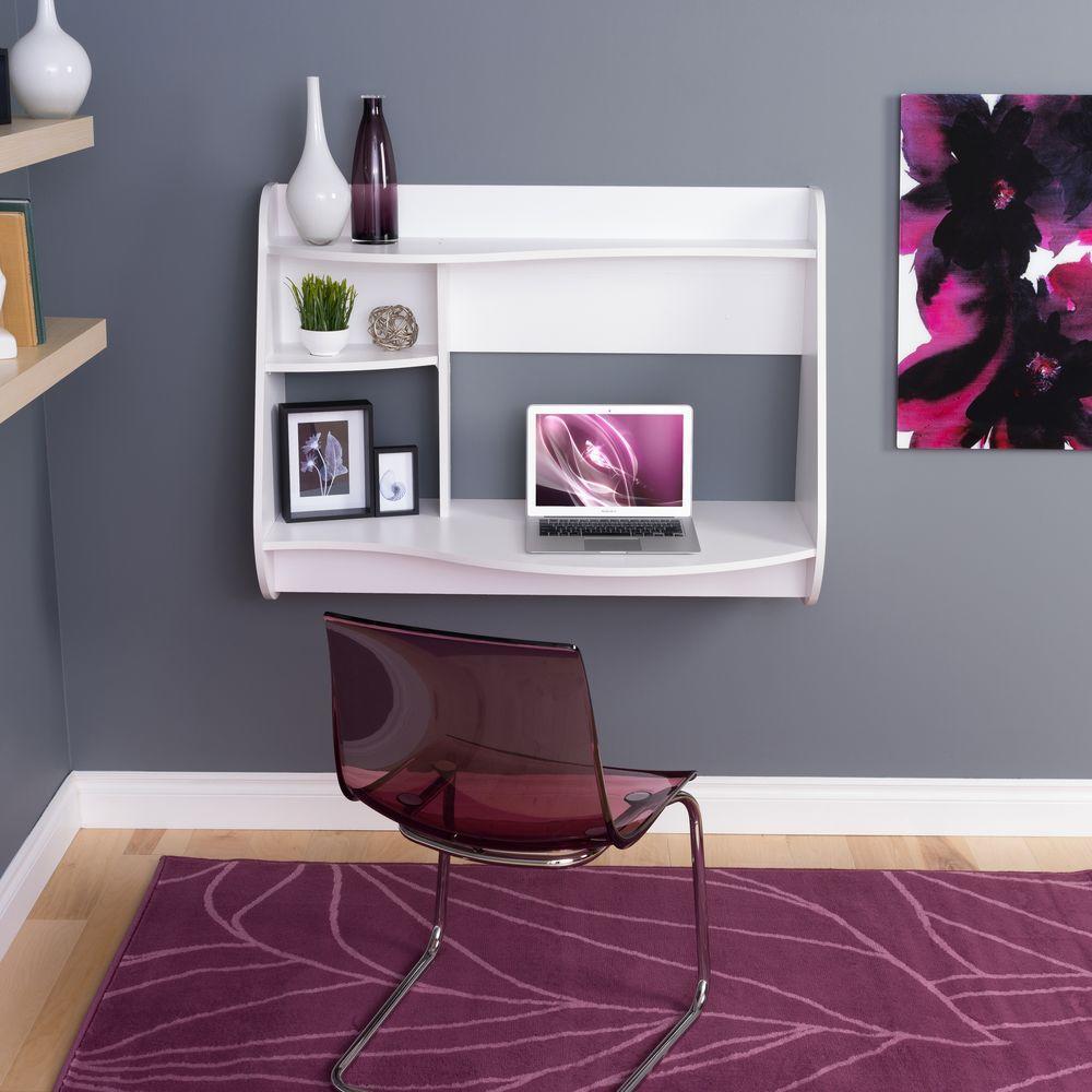 Kurv White Desk with Shelves