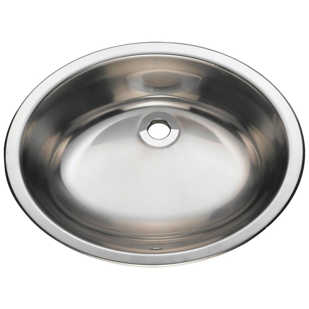 Dual Mount Bathroom Vessel Sink In Stainless Steel