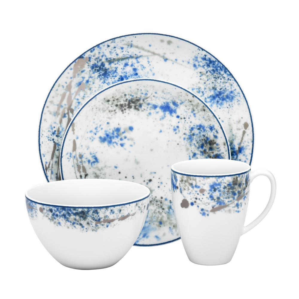 Blue Nebula 4-Piece Casual white/blue Porcelain Dinnerware Set (Service for 1)
