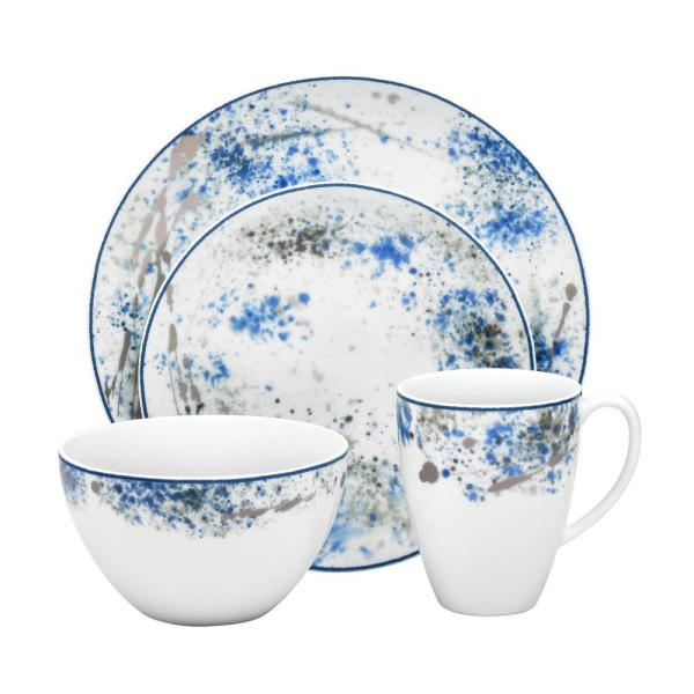 Blue Nebula 4-Piece Casual white/blue Porcelain Dinnerware Set (Service for 1)