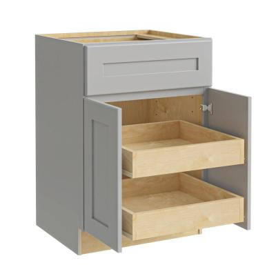 Tremont Assembled 27 x 34.5 x 24 in Plywood Shaker Base Kitchen Cabinet 2 rollouts Soft Close in Painted Pearl Gray