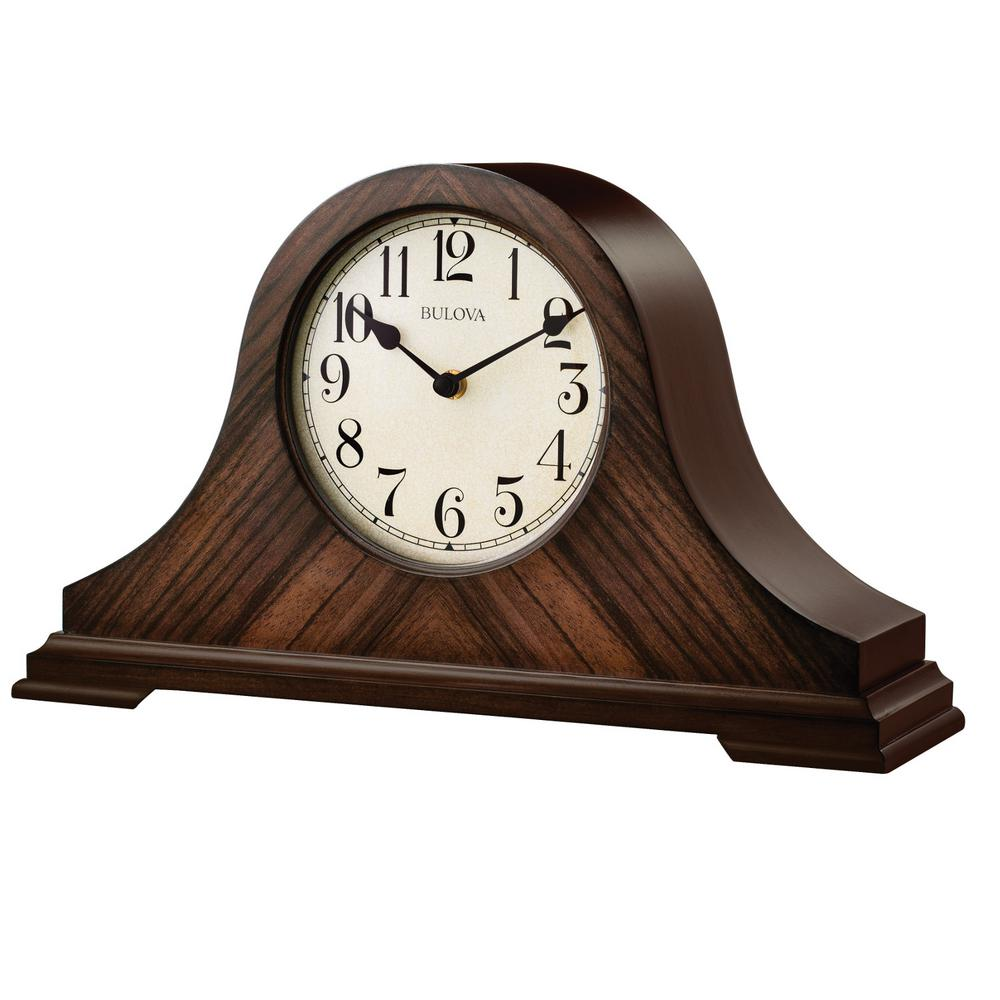 9 in. H x 15.25 in W Walnut Traditional Table Clock