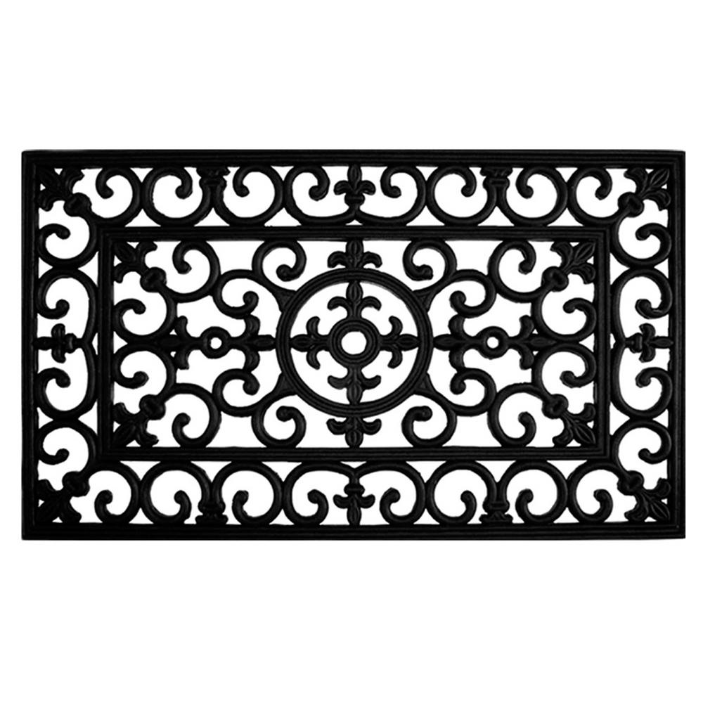 Home & More Fleur De Lis 24 in. x 36 in. Rubber Door Mat, Black Rubber Ridge Mats are heavy-duty, durable mats designed for low profile door clearance. Excellent for commercial or residential use, the raised nub scrapes shoes while the trenches capture the debris, keeping it from your home or business. Hose clean. Color: Black.