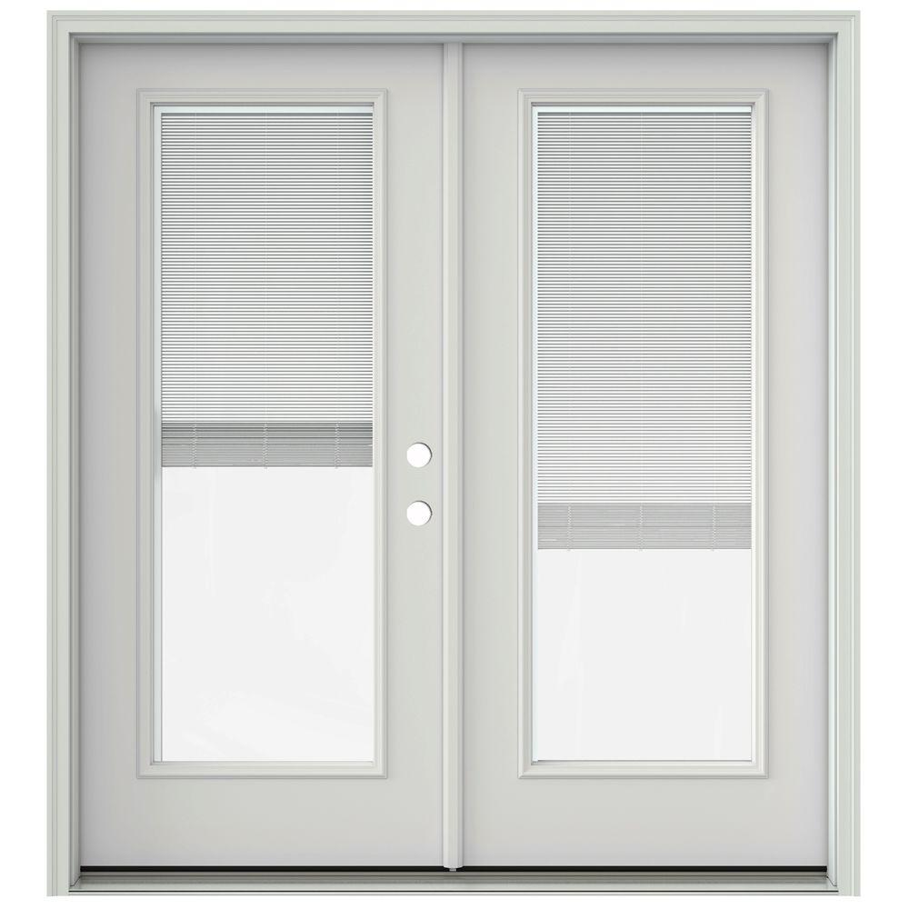 JELD WEN 72 In. X 80 In. Primed Prehung Left Hand Inswing French Patio Door  With Brickmould And Blinds THDJW205900498   The Home Depot