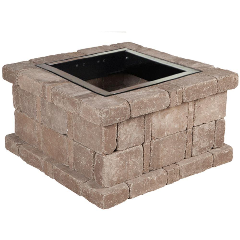 Pavestone RumbleStone 38.5 in. x 21 in. Square Concrete Fire Pit Kit No. 3 in Cafe