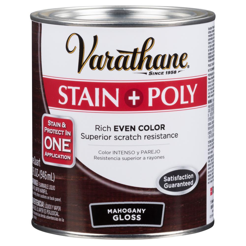 1 hp. Mahogany Gloss Water-Based Interior Stain and Polyurethane (4-Pack)