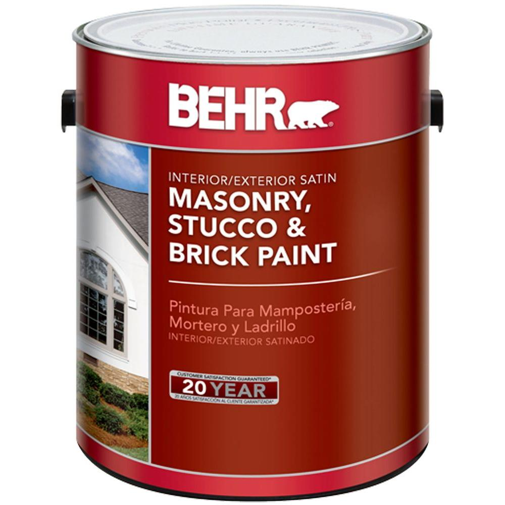 Behr 1 Gal White Satin Enamel Masonry Stucco And Brick Paint 28001 The Home Depot