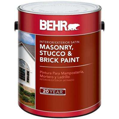 1 Gal White Satin Enamel Masonry Stucco And Brick Paint
