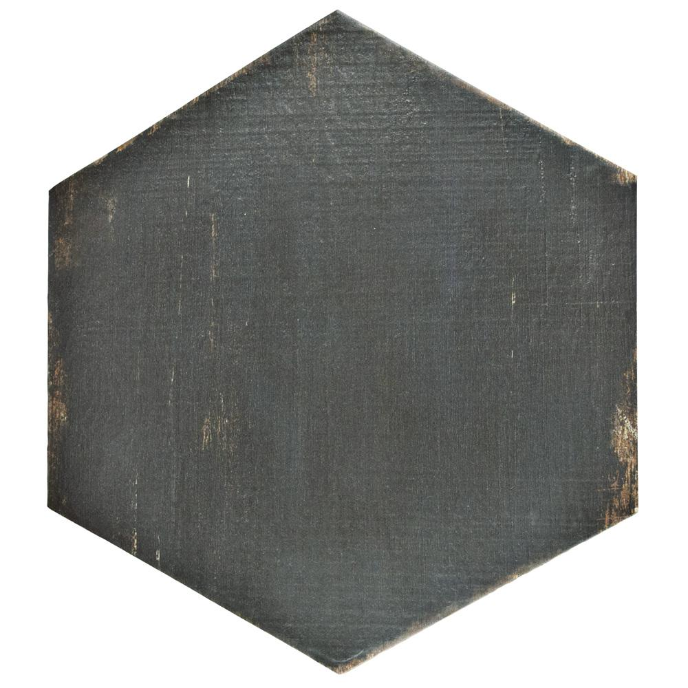 Merola Tile Retro Hex Negre 14-1/8 in. x 16-1/4 in. Porcelain Floor and Wall Tile (10.76 sq. ft. / case)