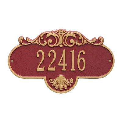 Oval Rochelle Standard Red/Gold Wall 1-Line Address Plaque