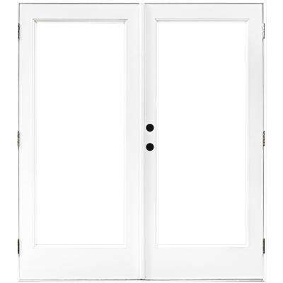 60 in. x 80 in. Fiberglass Smooth White Right-Hand Outswing Hinged Patio Door