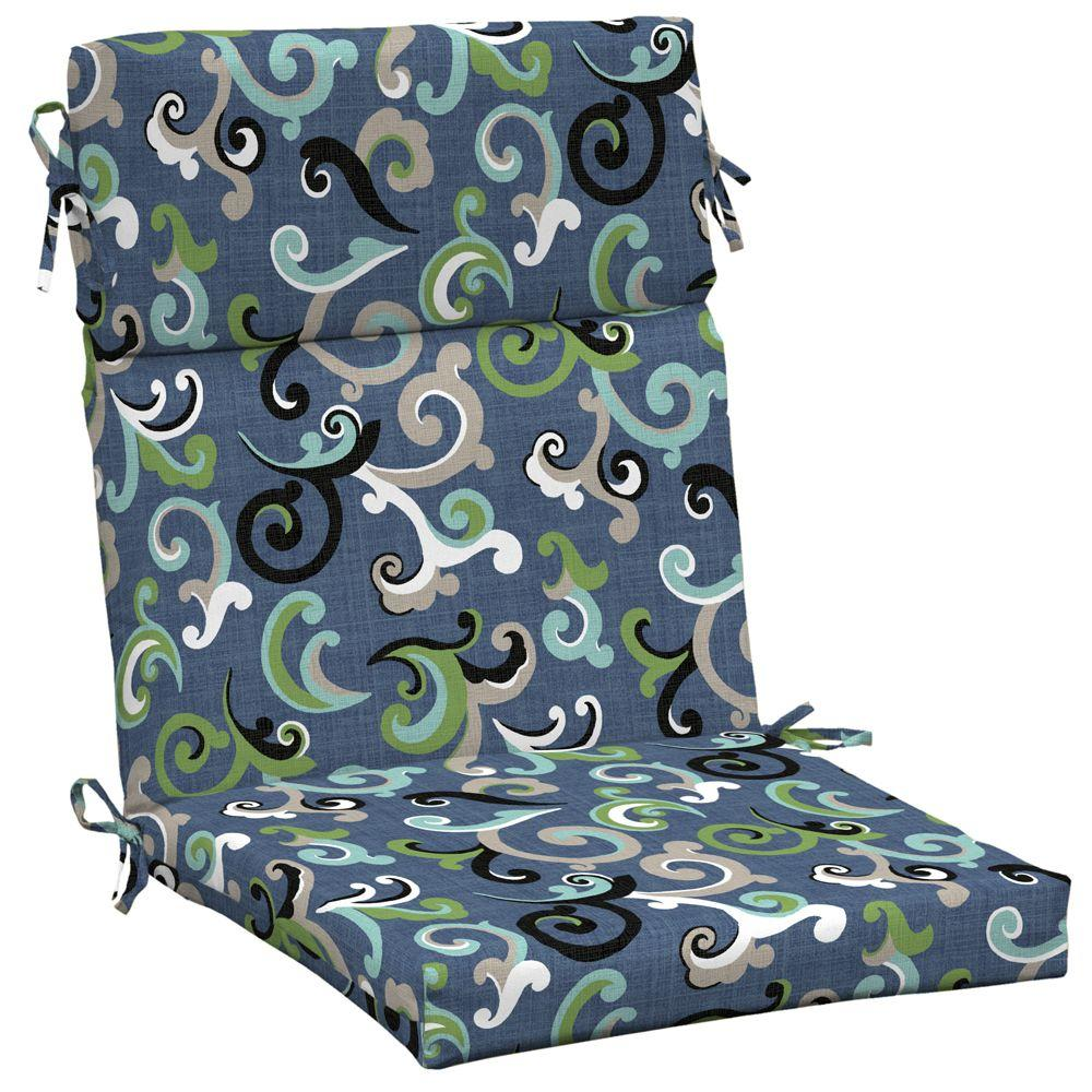 Arden Vienna Scroll Marine High Back Outdoor Chair Cushion-DISCONTINUED
