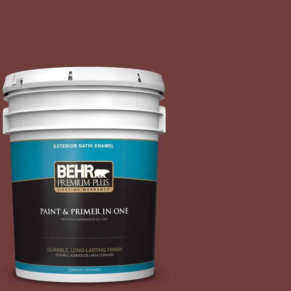 BEHR Premium Plus 5-gal. #ECC-27-1 Red Pines Satin Enamel Exterior Paint