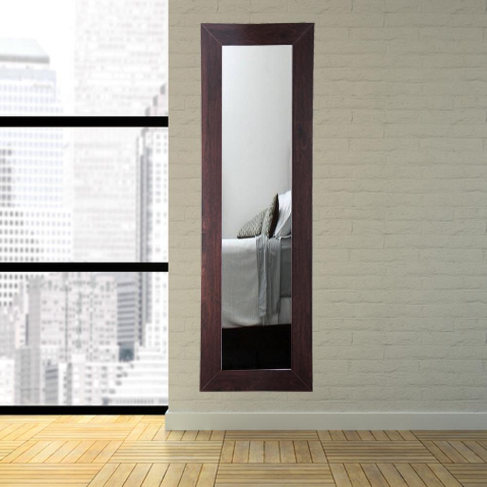 Modern Rustic Dark Walnut Full Length Framed Mirror