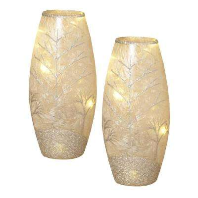 7.5 in. H Battery Operated Frosted Glass Vases (2-Set)