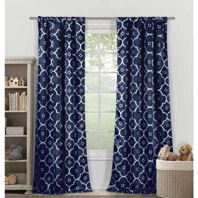 Geometric Navy White Polyester Blackout Pole Top Window Curtain 39 in. W x 84 in. L (2-Pack)