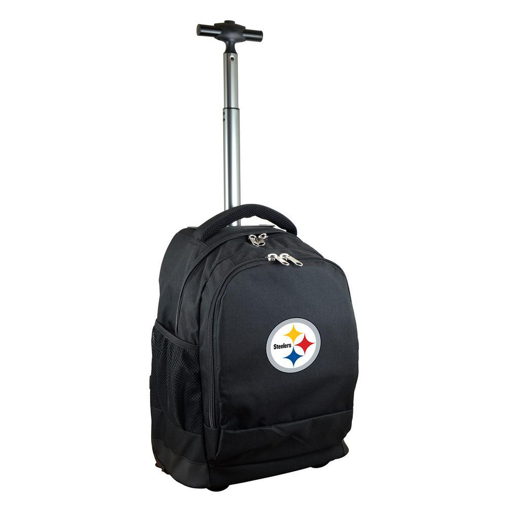 Denco NFL Pittsburgh Steelers 19 in. Black Wheeled Premium Backpack