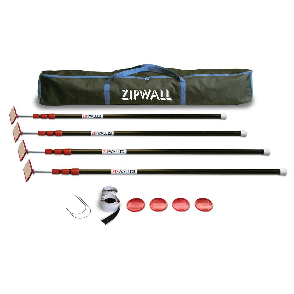 ZipWall ZP4 Contains 4 10 ft. Steel Spring Loaded Poles 4-Heads, 4-Plates, 4-Tethers, 4-Grip Disks, 2-Zippers and 1-Carry Bag
