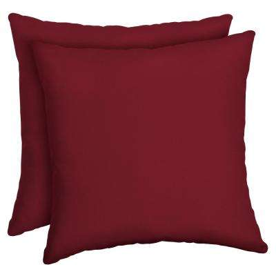 Caliente Canvas Texture Square Outdoor Throw Pillow (2-Pack)