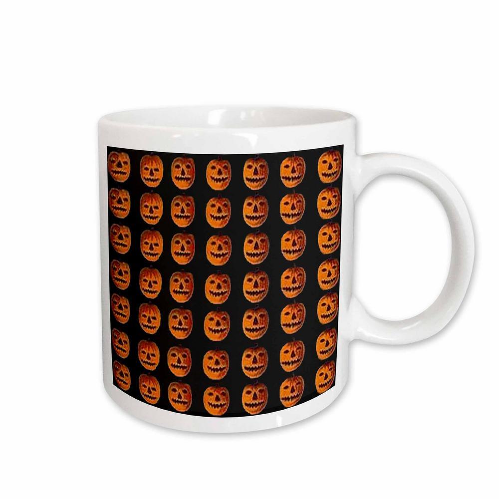 Sandy Mertens Vintage Halloween Designs 11 oz. White Ceramic Vintage Halloween Jack o Lanterns Pattern Mug