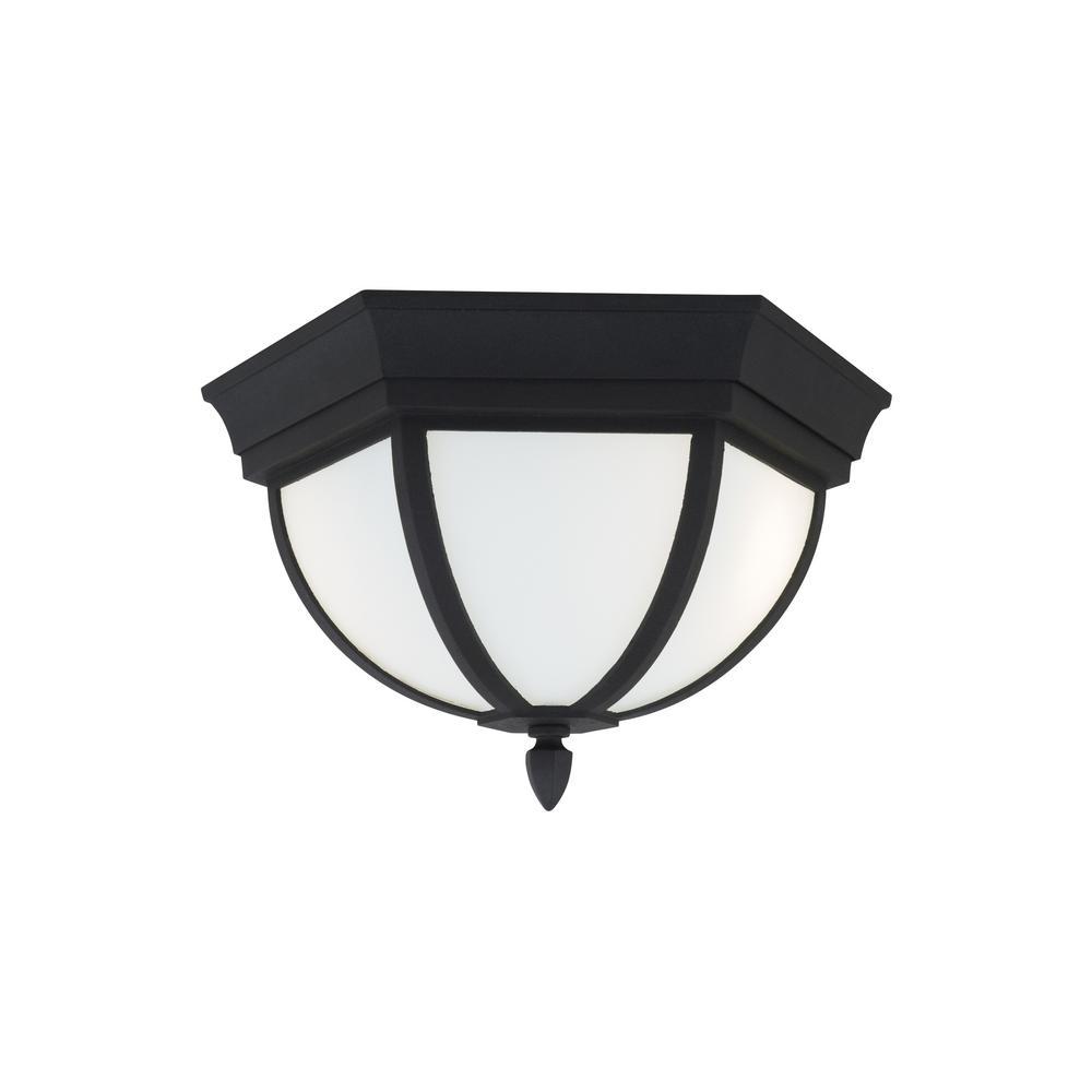 Wynfield Black 2-Light Outdoor Flush Mount with LED Bulbs