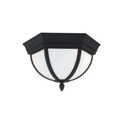 Wynfield Black 2-Light Outdoor Flush Mount with LED Bulbs