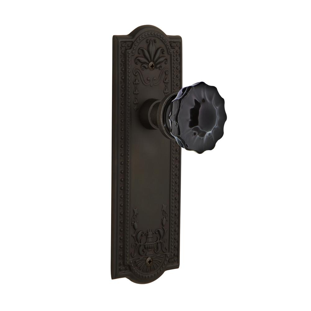 Nostalgic Warehouse Meadows Plate Double Dummy Crystal Black Glass Door Knob  In Oil Rubbed Bronze