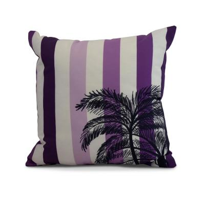 Thin Purple Striped 16 in. x 16 in. Throw Pillow