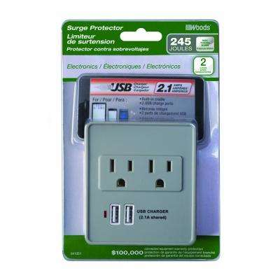 2-Outlet 245-Joule Plug-In Surge Protector with USB Charger