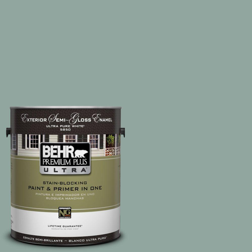 BEHR Premium Plus Ultra 1-Gal. #UL220-16 Lotus Leaf Semi-Gloss Enamel Exterior Paint