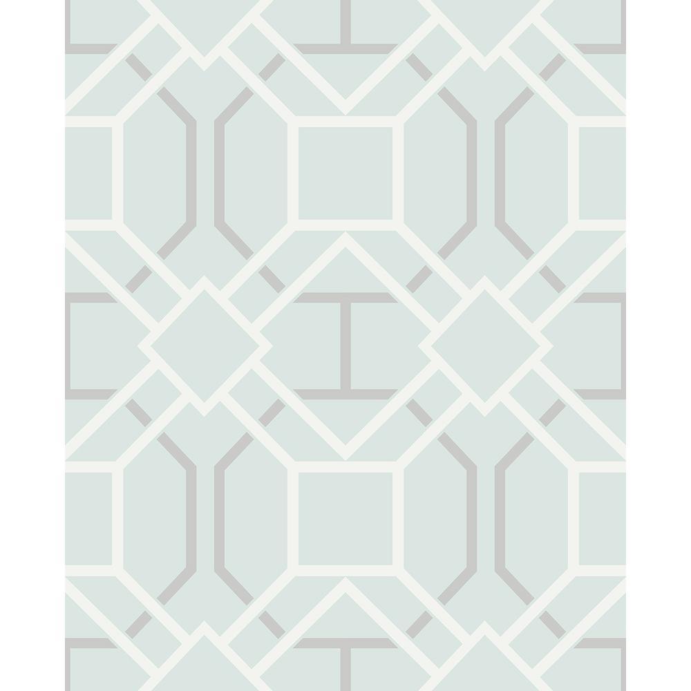 403d8231d Advantage 8 in. x 10 in. Jessica Light Blue Geometric Wallpaper ...