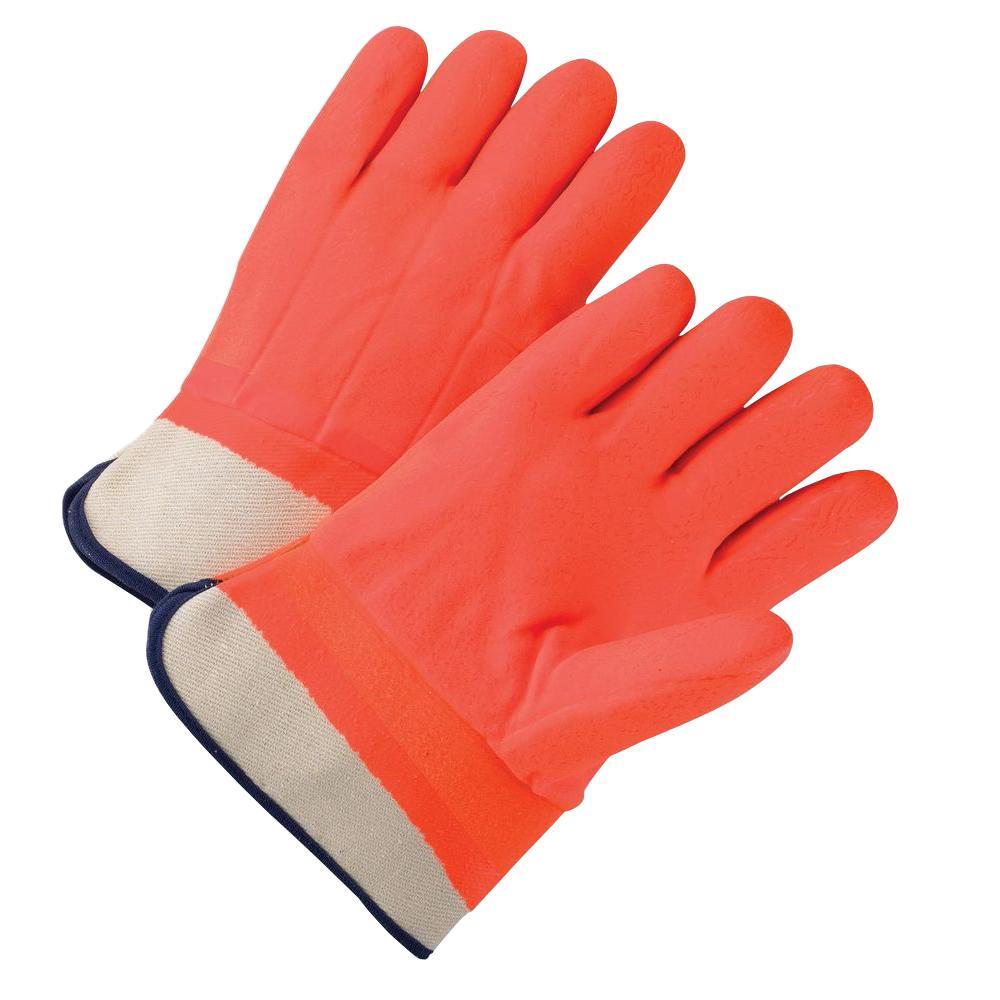 Safety Orange PVC Coated Foam Lining Dozen Pair Gloves