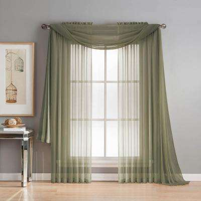 Diamond Sheer Voile 56 in. W x 216 in. L Curtain Scarf in Olive