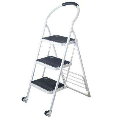 175 lbs. Step Ladder Folding Cart Dolly in White