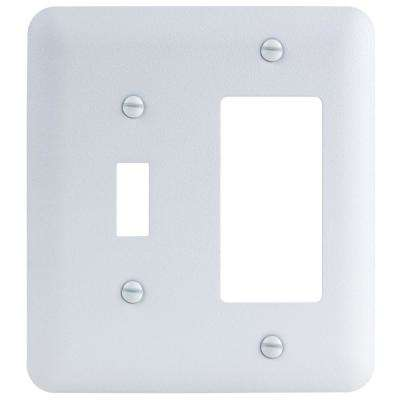 2-Gang Toggle/Decorator Maxi Metal Wall Plate, White Textured
