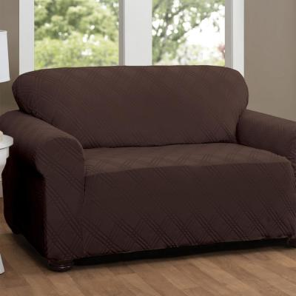 Stretch Double Diamond Chocolate Sofa Slipcover