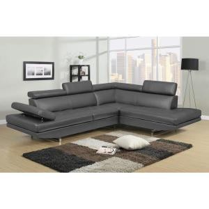 Logan Collection 2-Piece Left Facing Style in Gray Sectional Sofa Set with  Bonded Leather