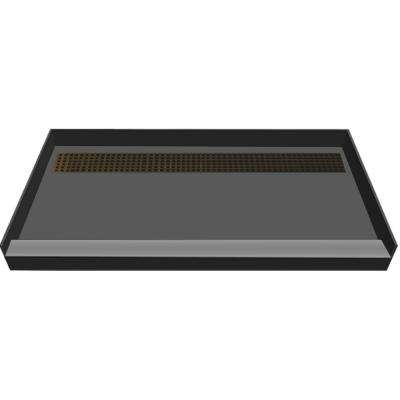48 in. x 72 in. Single Threshold Shower Base in Gray with Back Drain and Oil Rubbed Bronze Trench Grate