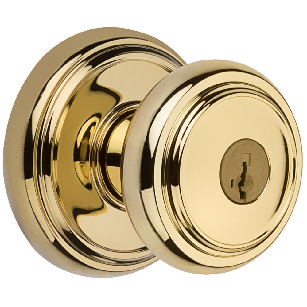 Prestige Alcott Lifetime Polished Brass Entry Door Knob Featuring SmartKey Security
