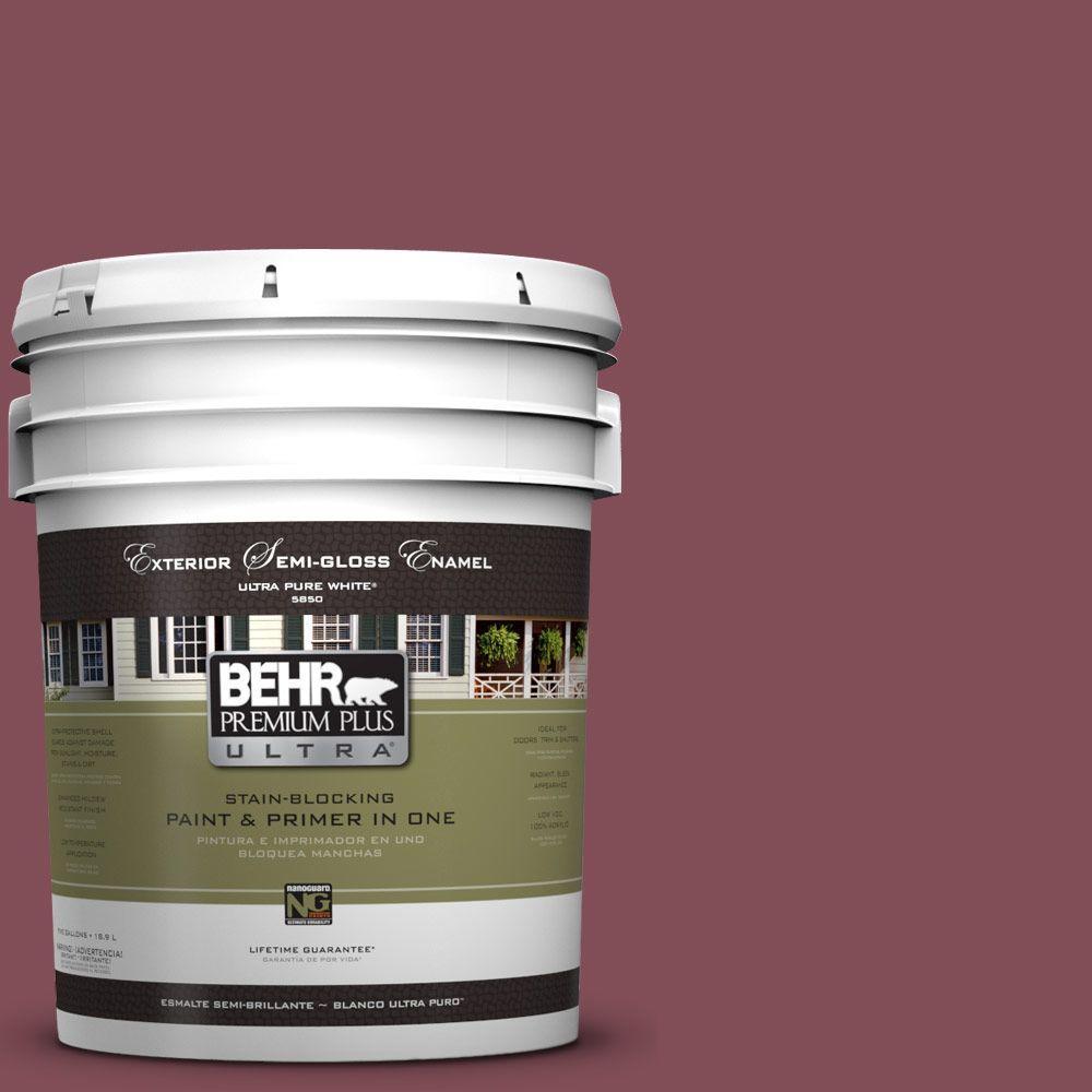 BEHR Premium Plus Ultra 5-gal. #HDC-SP14-11 Rouge Charm Semi-Gloss Enamel Exterior Paint