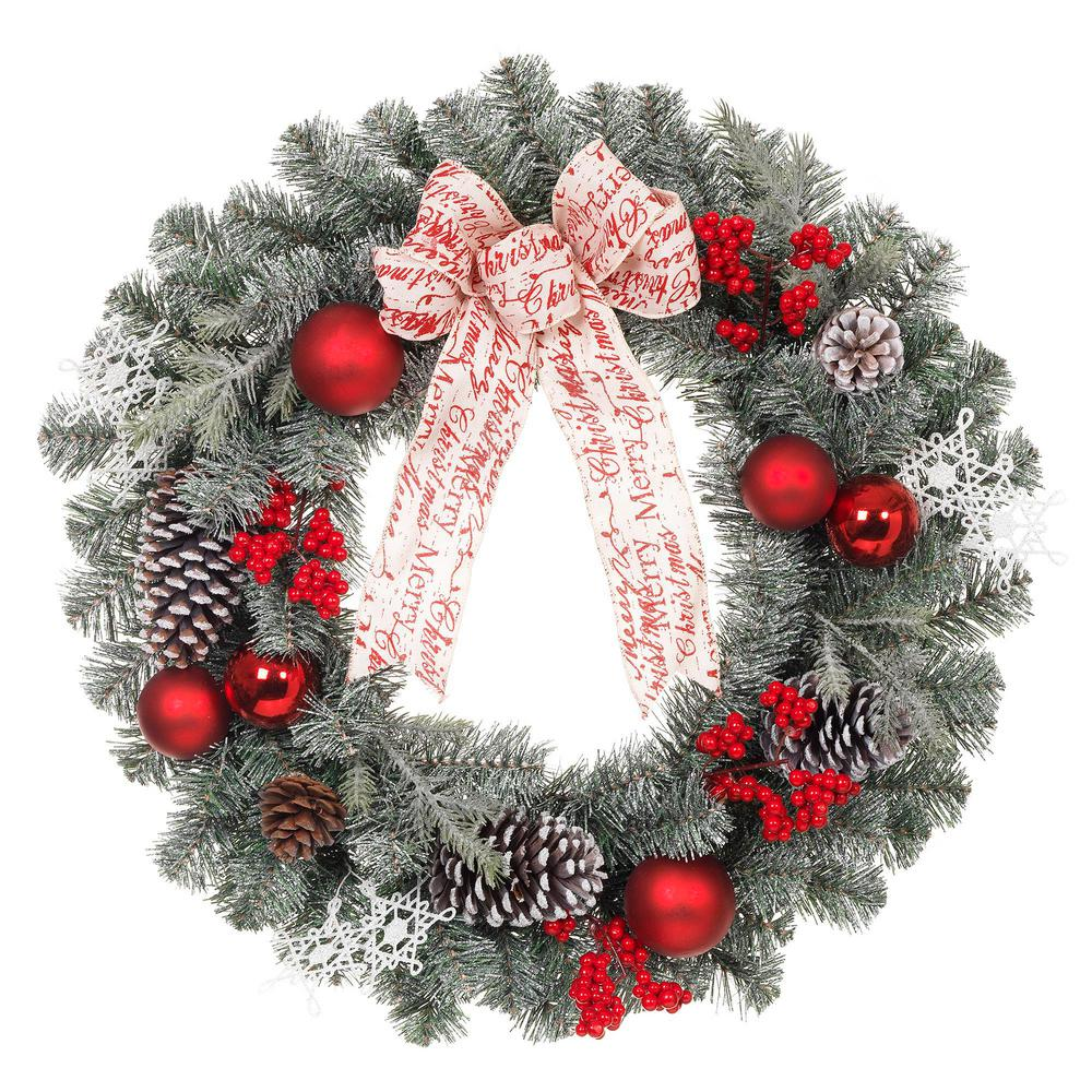 24 in. Unlit Artificial Christmas Snowy Pine Wreath with Red Balls