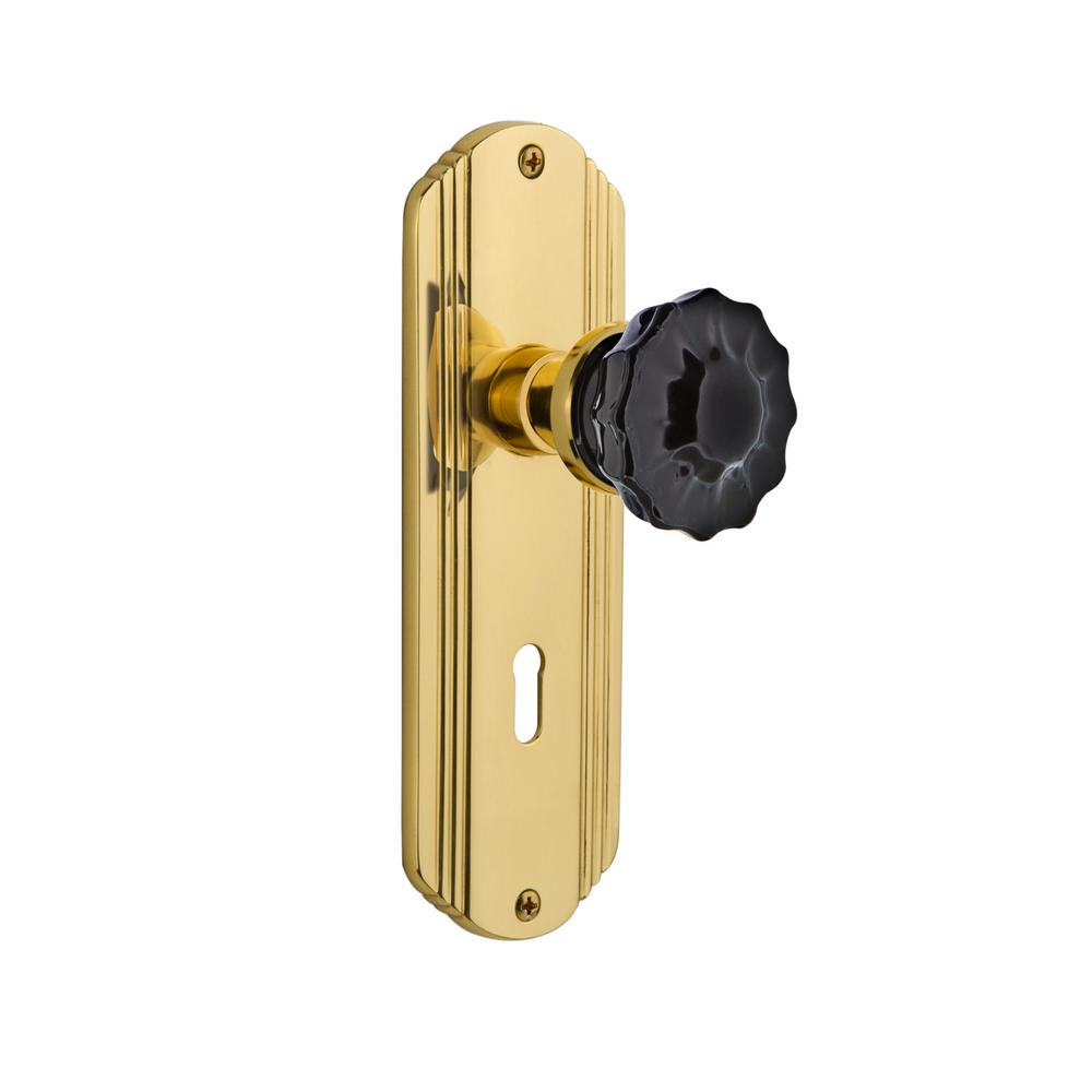 Deco Plate with Keyhole Single Dummy Crystal Black Glass Door Knob in Polished Brass