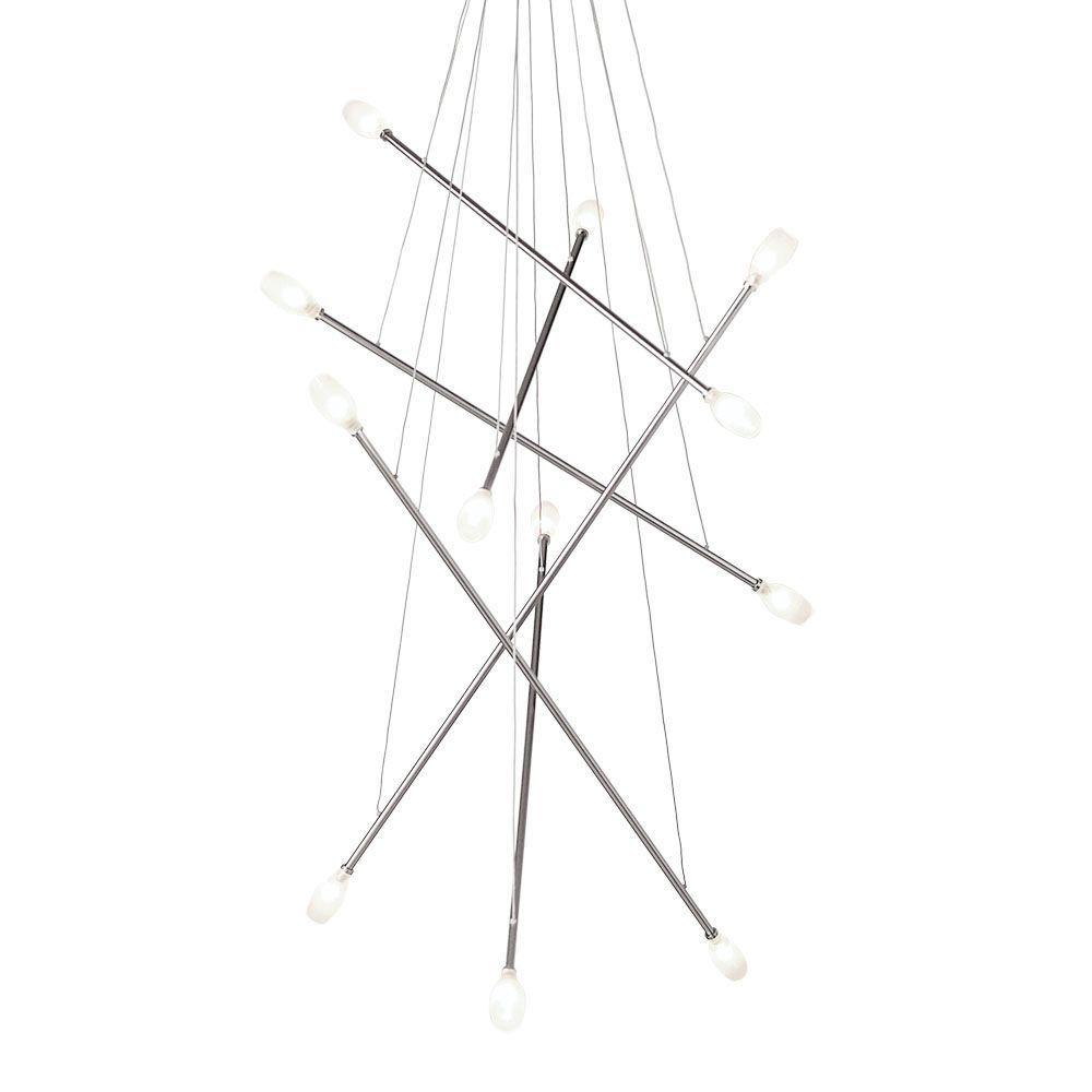 Batons 12-Light Frost Satin Nickel Hanging Chandelier
