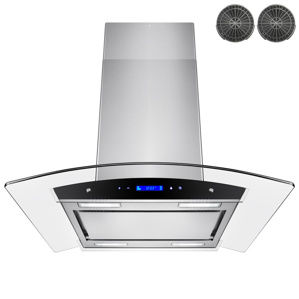 Delicieux Convertible Kitchen Island Mount Range Hood In Stainless Steel With  Tempered Glass