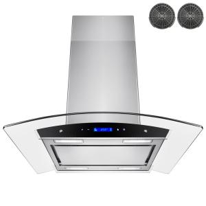 Convertible Kitchen Island Mount Range Hood In Stainless Steel With Tempered Gl Touch Control Carbon Filter Rh0257 The Home Depot