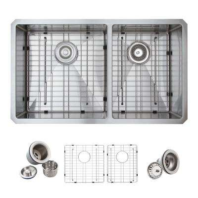All-in-One Undermount Stainless Steel 33 in. Double Bowl 60/40 Kitchen Sink in Satin