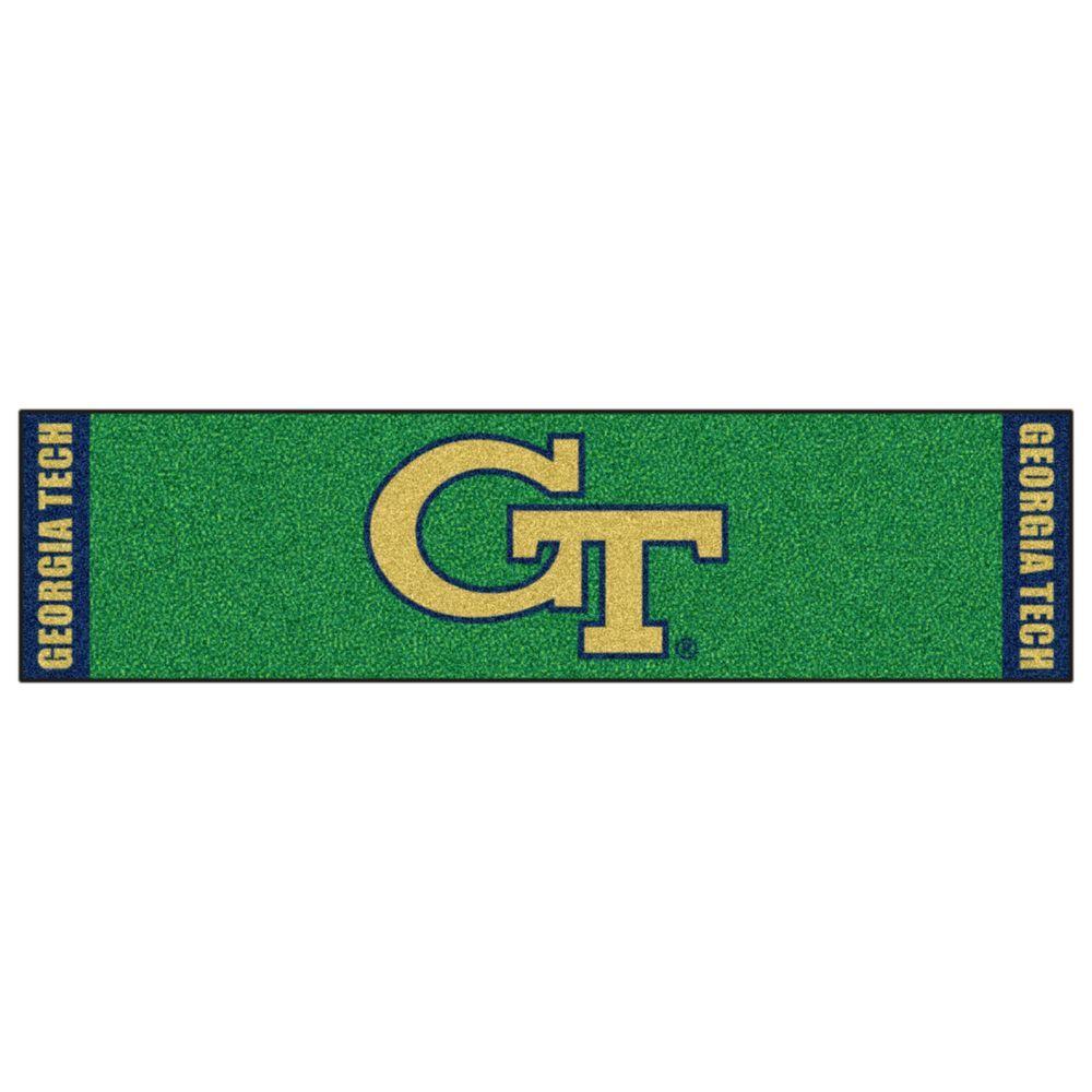 NCAA Georgia Tech 1 ft. 6 in. x 6 ft. Indoor 1-Hole Golf Practice Putting Green